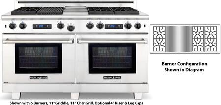 "American Range ARR-606X2GRDF 60"" Medallion Dual Fuel Range with Two 4.9 Cu. Ft. Capacity Ovens, 6 Sealed Burners, 22"" Grill, Self-Cleaning and Programmable Digital Control, in Stainless Steel:"