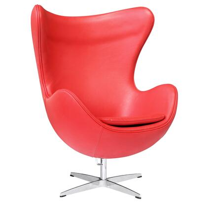 Fine Mod Imports FMI1131RED Inner Series Armchair Leather Fibre glass Frame Accent Chair