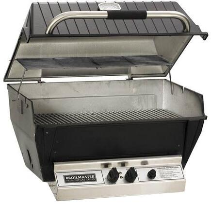 "Broilmaster H4xx 24"" Deluxe Series Built-In Grill with 473 sq. in. Grilling Surface, 36,000 BTU Total Heat Output, H-Style Burners, 2-piece Stainless Steel Cooking Grids, and Charmaster Briquets, in Black"