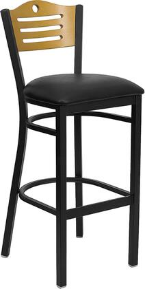 "Flash Furniture HERCULES Series XU-DG-6H3B-SLAT-BAR-XXV-GG 32"" Slat Back Metal Restaurant Bar Stool with Natural Wood Back, Commercial Design, Vinyl Seat, Foot Rest Rung, and Plastic Floor Glides"