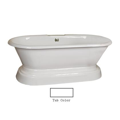 """Barclay CTDRN67B Dickenson 67"""" Cast Iron Double Roll Tub with Structured Base and White Enamel Interior, in"""