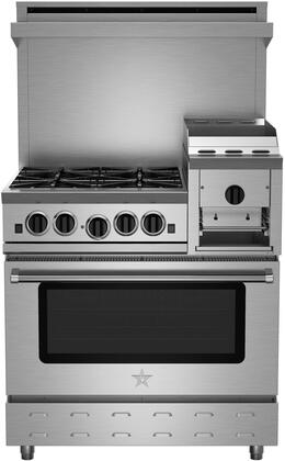 "BlueStar RNB364GHCV2X Heritage Classic 36"" Freestanding Gas Range with 4 Cast Iron Open Burners, Convection Oven, Raised 12"" Griddle, Simmer Burner, Full Motion Grates and Stainless Drip Trays"