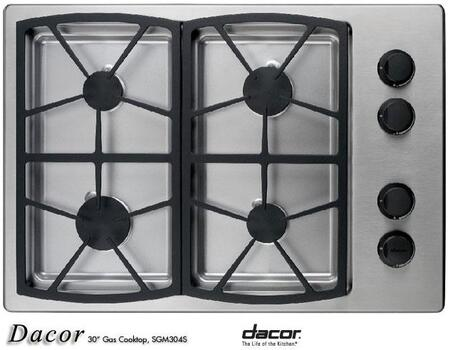 Dacor SGM304SLPH Classic Series Liquid Propane Sealed Burner Style Cooktop, in Stainless Steel
