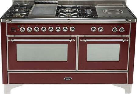 Ilve UMT150SMPRB Majestic Techno Series Dual Fuel Freestanding Range with Sealed Burner Cooktop, 3.55 cu. ft. Primary Oven Capacity, Warming in Burgundy Red