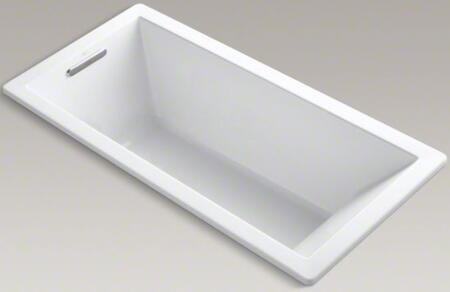"""Kohler Underscore K-1821-X 66"""" x 32"""" Rectangular Drop In Soaking Bath Tub With Reversible Drain, Molded Lumbar Support, Slotted Overflow, Acrylic Material, In"""
