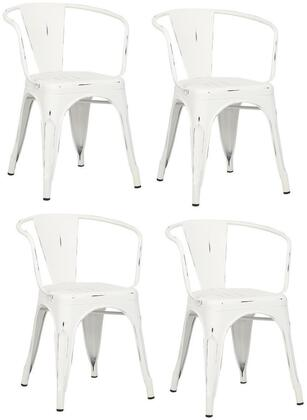 EdgeMod EM113DISWHIX4 Trattoria Series Modern Metal Frame Dining Room Chair