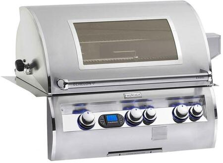 FireMagic E660I-4E1X-W Echelon Series Built In X Grill, 660 sq. in. Cooking Area with a Rotisserie Backburner and Cast E Burners and View Window: Stainless Steel