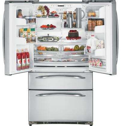 GE PGSS5NFZSS  Bottom Freezer Refrigerator with 24.7 cu. ft. Total Capacity 7.72 cu. ft. Freezer Capacity 5 Glass Shelves