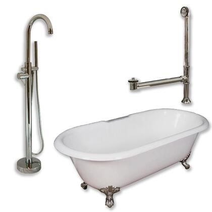 "Cambridge DE60150PKG Cast Iron Double Ended Clawfoot Tub 60"" x 30"" with no Faucet Drillings and Complete Modern Freestanding Tub Filler with Hand Held Shower Assembly Plumbing Package"