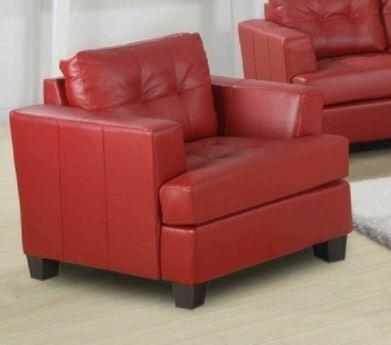 Yuan Tai 1083CRED Caleb Series Leather Chair with Wood Frame in Red
