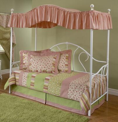 Hillsdale Furniture 182DBPL Bristol Daybed with Suspension Deck, Canopy, Moderate Scrollwork and Tubular Steel Construction in White Finish