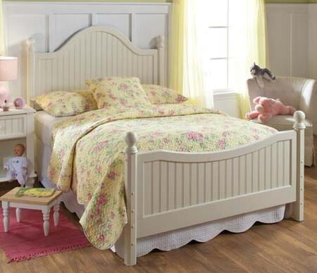 Hillsdale Furniture 1354B Westfield Poster Bed Set with Sculpted Feet, Curved Headboard, No Rails and Wood Construction in Off White Finish