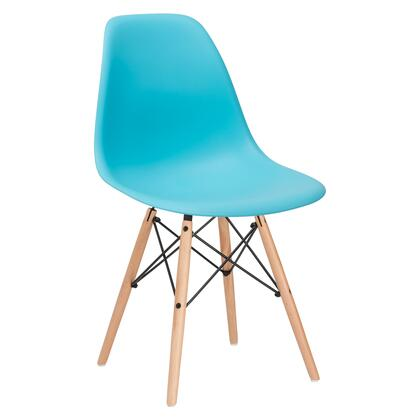 "EdgeMod Vortex Collection 21"" Side Chair with Plastic Non-Marking Feet, Beech Wood Tapered Legs and Polypropylene Plastic Seat"