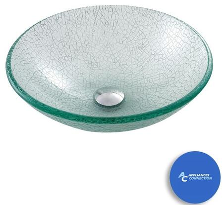 """Kraus CGV50012MM1002 Singletone Series 17"""" Mosaic Round Vessel Sink with 12-mm Tempered Glass Construction, Easy-to-Clean Polished Surface, and Included Sheven Faucet"""
