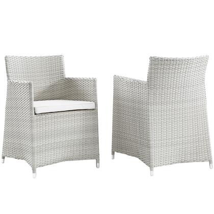 Modway Junction Collection Set of 2 Outdoor Patio Wicker Armchair with Powder Coated Aluminum Frame, Synthetic Rattan Weave, Water and UV Resistant in