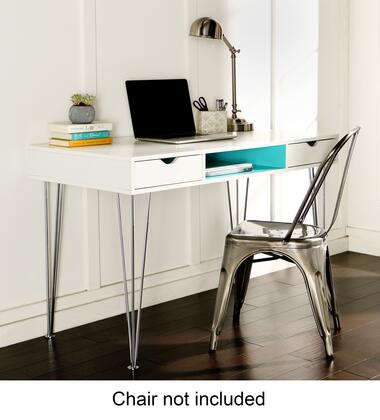 "Walker Edison D48CA1XX Home Office 48"" Wood Chrome Computer Storage Desk with Chrome Steel Hairpin Legs, Color Accented Drawers and Open Center Shelf in"