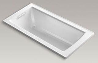 "Kohler K-1947-VBW Archer VibrAcoustic 60"" x 30"" Drop-In Bath Tub with Bask Heated Surface and Reversible Drain in"
