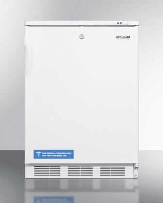 """Summit VT65MLB 24"""" Medically Approved Upright Freezer with 3.5 cu. ft. Capacity, Factory Installed Lock, Three Removable Storage Baskets and Adjustable Thermostat in White"""