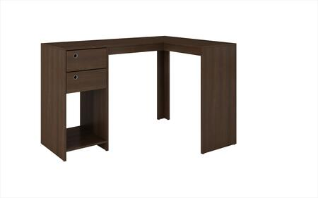 "Accentuations Palermo Collection 41AMCXX 50"" Classic L-Desk with 2 Drawers, Ring Holes and 1 Open Shelf in"