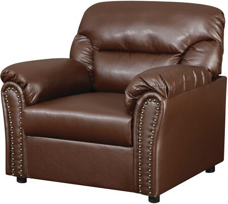 """Glory Furniture 39"""" Living Room Chair with Nailhead Accents, Plush Padded Arms, Removable Back, Split Back Cushions and Bonded Leather Upholstery in"""