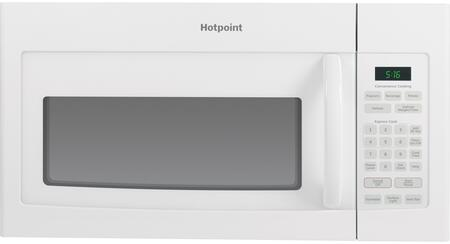 Hotpoint RVM5160 1.6 Cu. Ft. Over The Range Microwave with Turntable, Weight and Time Defrost, Convenience Cooking Controls, Add 30 Second Button and 200-CFM Venting System: