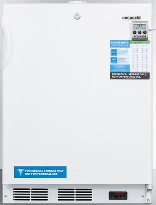 "AccuCold ACF48WMEDDT 24"" Medical Freestanding or Built In Compact Freezer with 3.1 cu. ft. Capacity, NIST Calibrated Temperature Display, Temperature Alarm and Hospital Grade Cord: White"