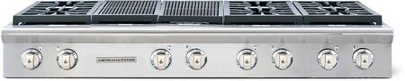 """American Range Legend Series ARSCT-606X2GR 60"""" Sealed Burner Gas Rangetop With 6 Sealed Burners, Pro-Style, 22"""" Grill, Fail-Safe System, Analog Controls and Electronic Ignition in Stainless Steel"""
