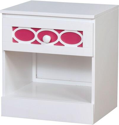 """Furniture of America Cammi Collection 19"""" Nightstand with 1 French Dovetail Drawer, 1 Bottom Shelf, Decorative Circular Ring Design, Solid Wood and Wood Veneers Construction"""