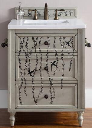 """James Martin Copper Cove Collection 300-V26-HP01- 26"""" Single Hand Painted Vanity with Three Soft Close Drawers, Hand Carved Turned Legs, Hand Distressing and"""