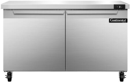 """Continental Refrigerator SWF4 48"""" Worktop Freezer with 13.4 Cu. Ft. Capacity, Stainless Steel Exterior and Interior, 5"""" Casters, Interior Hanging Thermometer, and Environmentally-Safe Refrigerant, in Stainless Steel"""