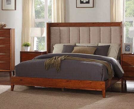 Legends Furniture Evo Collection ZEVO-700BED Panel Bed with Upholstered Headboard in Chestnut