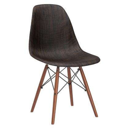 """EdgeMod Vortex Collection  21.5"""" Dining Chair with Plastic Non-Marking Feet, Wood/Wire Base and Woven Fabric Upholstery in"""