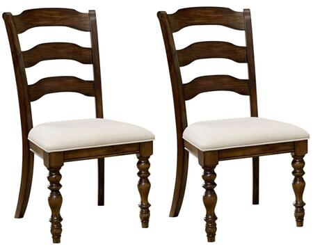 """Hillsdale Furniture 802 Set of 2 Pine Island 40.25"""" Side Chairs with Ivory Seat Upholstery, Ladder Back and Solid Pine Construction in"""