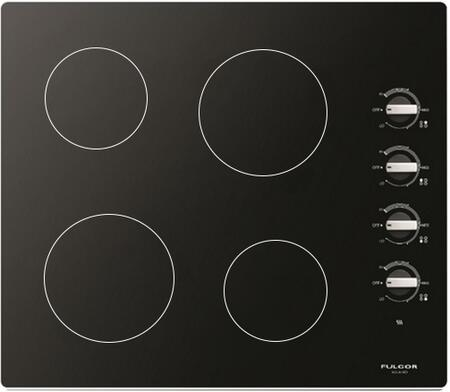 """Fulgor Milano F3RK24x2 24"""" 600 Series Electric Cooktop with 3 Radiant Elements, Peacock Tail Touch Control, Hot Surface Indicator and Timer Function, in"""