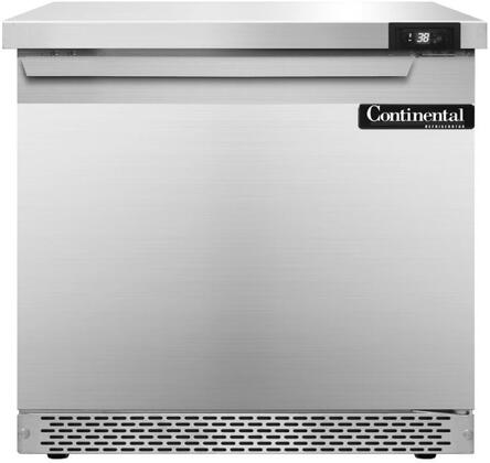 """Continental Refrigerator SW32F 32"""" Worktop Refrigerator with Front Breathing Compressor, Stainless Steel Front, Aluminum Interior, Interior Hanging Thermometer, and Environmentally-Safe Refrigerant, in Stainless Steel"""