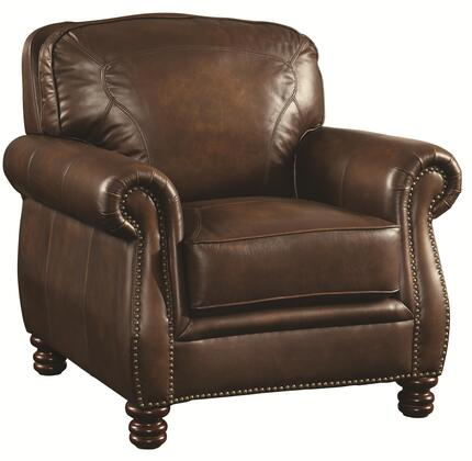 Coaster 503983 Montbrook Series Leather Armchair with Wood Frame in Hand Rubbed Brown