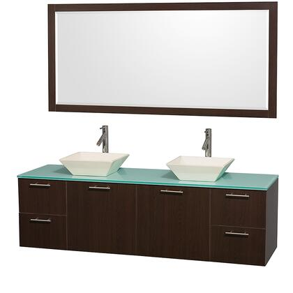 """Wyndham Collection WC-R410072 Amare 72"""" Wall mounted Double Sink Vanity with Top, Vessel Sink, Matching , 2 Doors and 4 Drawers in"""
