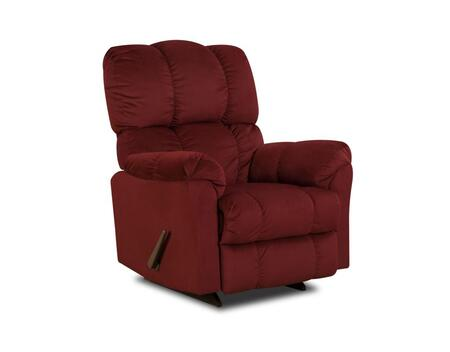 Chelsea Home Furniture 1893204170 Michigan Series Transitional Top Hat Berry Wood Frame  Recliners