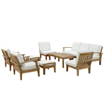 Modway Marina Collection 10 PC Outdoor Patio Sofa Set with Washable Fabric Covers, UV Resistant Cushions and Solid Teak Wood Construction in Natural Color
