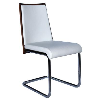 "Casabianca Modelo Collection CB-F3175 34"" Dining Chair with Chrome Legs, Walnut Wood Back and Eco-Leather Upholstery in"