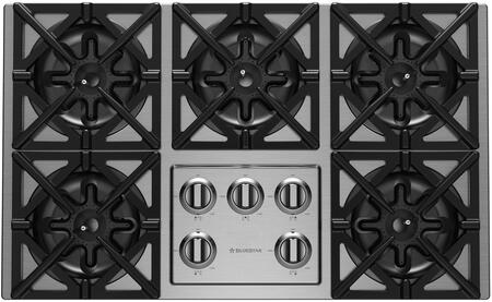 """BlueStar RBCT365BSSV2X 36"""" Gas Rangetop with 5 Open Burners, ULTRANOVA 22,000BTU Burners, Simmer Burner, Automatic-Electronic Ignition, Stainless Steel Knobs, and Full Motion Grates"""