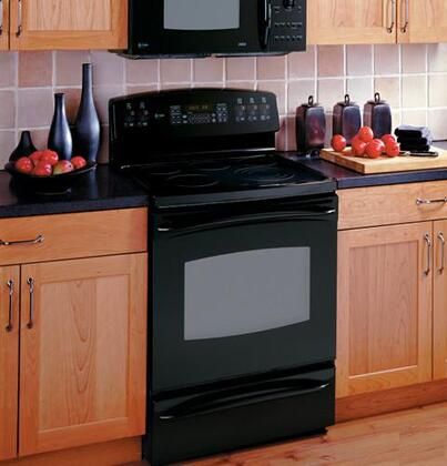 GE JB988BKBB  Electric Freestanding Range with Smoothtop Cooktop, 5.3 cu. ft. Primary Oven Capacity, Storage in Black