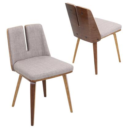 "LumiSource Varzi CH-VRZI WL 21"" Chair with Fabric Upholstery, Walnut Wood and Tapered Legs in"