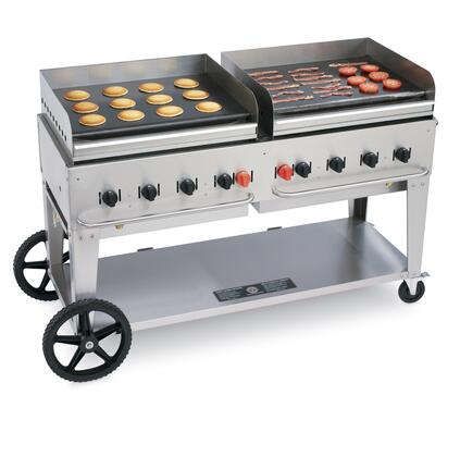 "Crown Verity CV-MG-60XX 69"" Wide Mobile Griddle with 129,000 BTU/H, 8 Burners, 58"" Cooking Surface, Pro Griddle Plates, Splash Guard and Removable Grease Tray in Stainless Steel"