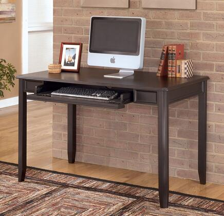 Signature Design by Ashley Carlyle H371DSK Home Office X Leg Desk with Pull-Out Keyboard Tray, Framed Apron Design and Satin Nickel Hardware in Black Finish