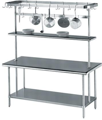 Work Table with Pot Rack and Overshelf