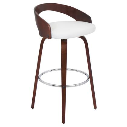 """LumiSource Grotto BS-JY-GRT 35"""" Barstool with 360-Degree Swivel, Curved Low Back and Tapered Legs in"""