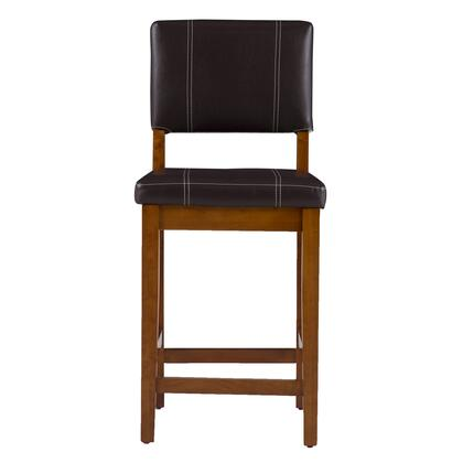 Linon 0210VBRN12101KD Milano Series Vinyl Upholstered Bar Stool