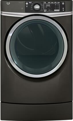 """GE GFD49GRx 28"""" Front Load Gas Dryer with 8.3 cu. ft. Capacity, RightHeight Built-In Pedestal Design, Steam Refresh, Detangle Assist, Stainless Steel Drum, HE Sensor Dry and Sanitize Cycle, in"""