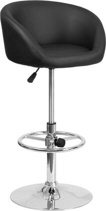 "Flash Furniture 32"" x 41"" Barstool with Rounded Swivel Seat, Gas Lift Adjustable Seat Height, Low Back Design, Adjustable Foot Ring, Chrome Base and Vinyl Upholstery in"